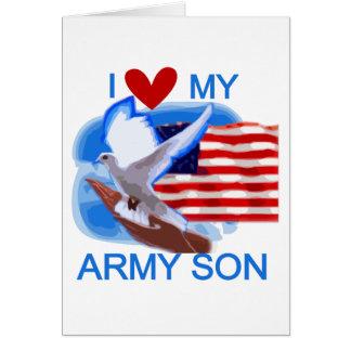Amo mis camisetas y regalos del hijo del ejército tarjeta de felicitación