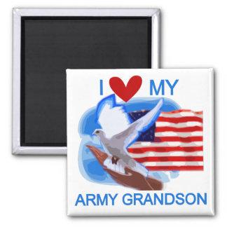 Amo mis camisetas y regalos del nieto del ejército imán cuadrado