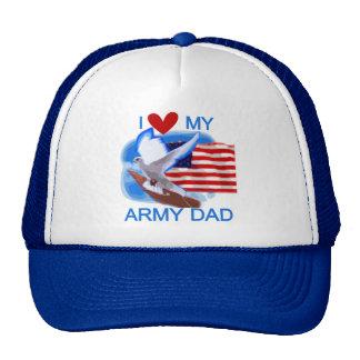 Amo mis camisetas y regalos del papá del ejército gorras de camionero