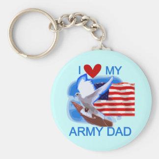 Amo mis camisetas y regalos del papá del ejército llavero redondo tipo pin