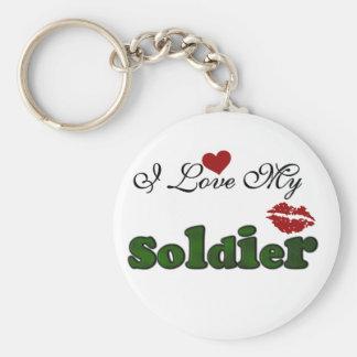 Amo mis camisetas y regalos del soldado llavero redondo tipo pin