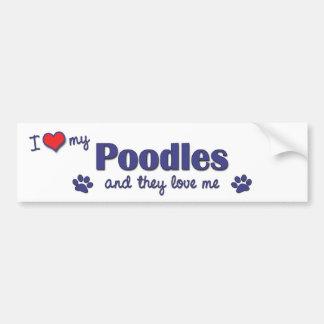 Amo mis caniches (los perros múltiples) pegatina para auto