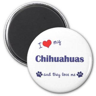 Amo mis chihuahuas (los perros múltiples) imán redondo 5 cm