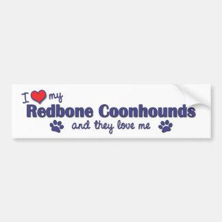 Amo mis Coonhounds de Redbone (los perros múltiple Pegatina Para Auto