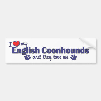 Amo mis Coonhounds ingleses (los perros múltiples) Pegatina Para Auto