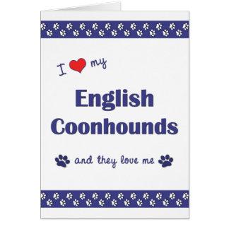 Amo mis Coonhounds ingleses (los perros múltiples) Tarjeta Pequeña
