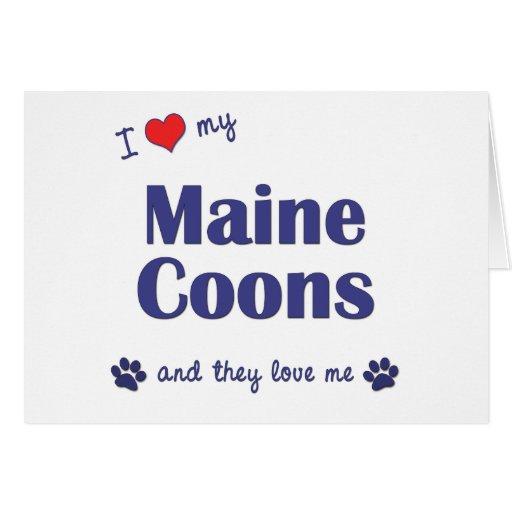 Amo mis Coons de Maine (los gatos múltiples) Tarjeta De Felicitación