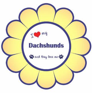 Amo mis Dachshunds (los perros múltiples) Adorno Fotoescultura