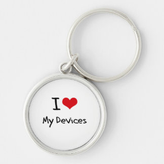 Amo mis dispositivos llavero redondo plateado