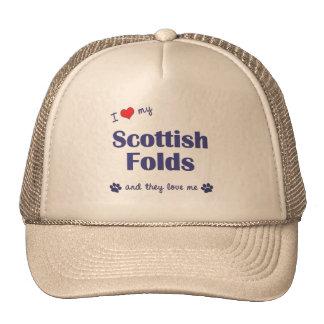 Amo mis dobleces escoceses (los gatos múltiples) gorros bordados
