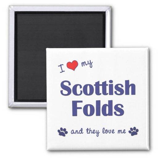 Amo mis dobleces escoceses (los gatos múltiples) imán