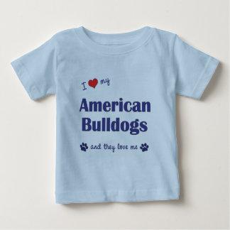 Amo mis dogos americanos (muchos perros) playera de bebé
