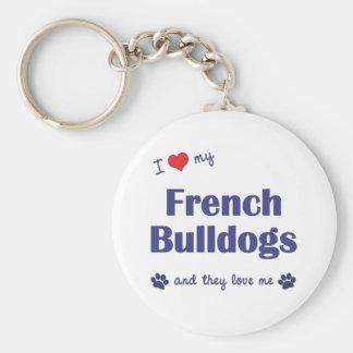 Amo mis dogos franceses (los perros múltiples) llaveros personalizados