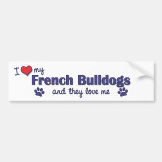 Amo mis dogos franceses (los perros múltiples) pegatina para auto