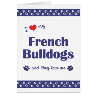 Amo mis dogos franceses (los perros múltiples) tarjeta pequeña