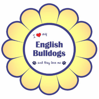 Amo mis dogos ingleses (los perros múltiples) adorno fotoescultura