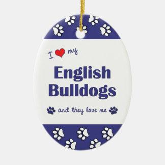 Amo mis dogos ingleses (los perros múltiples) ornamentos de navidad