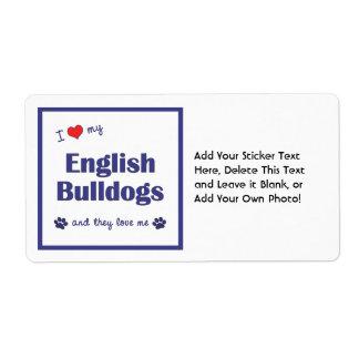 Amo mis dogos ingleses (los perros múltiples) etiquetas de envío