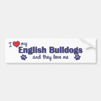 Amo mis dogos ingleses (los perros múltiples) pegatina para auto