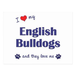 Amo mis dogos ingleses (los perros múltiples) postales