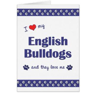 Amo mis dogos ingleses (los perros múltiples) tarjeta pequeña