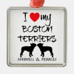 Amo mis dos perros de Boston Terrier Adorno Navideño Cuadrado De Metal