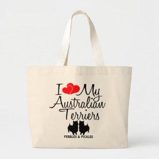 Amo mis dos perros de Terrier australiano Bolsa De Tela Grande