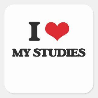 Amo mis estudios calcomanías cuadradas personalizadas