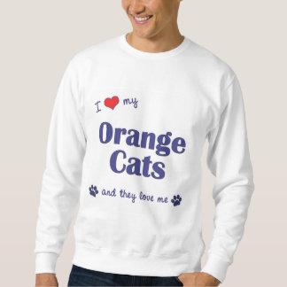 Amo mis gatos anaranjados (los gatos múltiples) sudadera