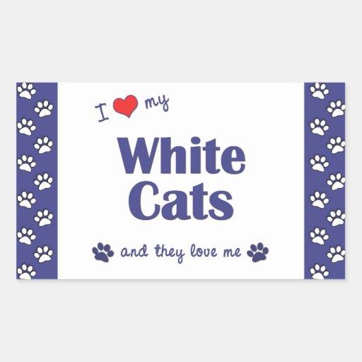 Amo mis gatos blancos (los gatos múltiples) rectangular pegatinas
