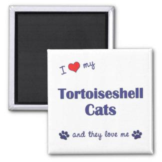 Amo mis gatos de la concha (los gatos múltiples) imán cuadrado