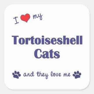 Amo mis gatos de la concha (los gatos múltiples) pegatina cuadrada