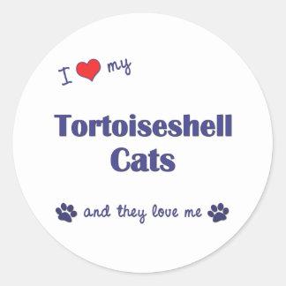Amo mis gatos de la concha (los gatos múltiples) pegatina redonda