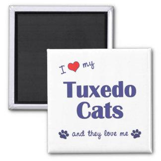 Amo mis gatos del smoking (los gatos múltiples) imán cuadrado