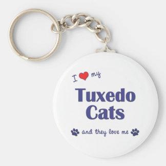 Amo mis gatos del smoking (los gatos múltiples) llavero redondo tipo pin