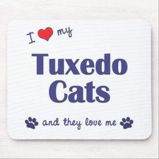 Amo mis gatos del smoking (los gatos múltiples) tapetes de ratones