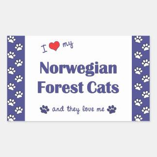 Amo mis gatos noruegos del bosque (los gatos rectangular pegatina
