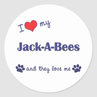 Amo mis Jack-UNO-Abejas (los perros múltiples) Pegatina Redonda