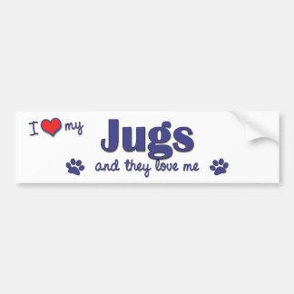 Amo mis jarros (los perros múltiples) pegatina para auto