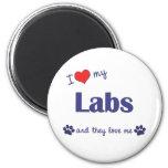 Amo mis laboratorios (los perros múltiples) iman para frigorífico
