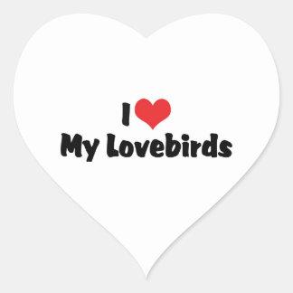 Amo mis Lovebirds Pegatina En Forma De Corazón
