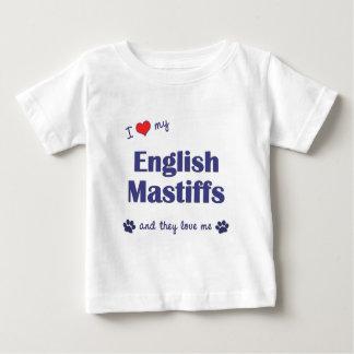 Amo mis mastines ingleses (los perros múltiples) playera de bebé