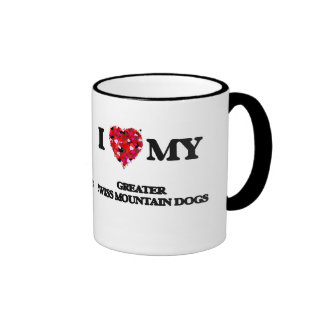Amo mis mayores perros suizos de la montaña taza de dos colores