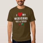 Amo mis mexicanos calientes y la camiseta picante playera