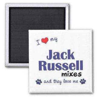 Amo mis mezclas de Jack Russell (los perros múltip Imán Cuadrado