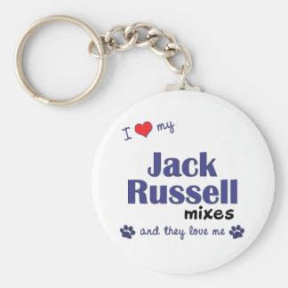 Amo mis mezclas de Jack Russell (los perros múltip Llavero Redondo Tipo Pin