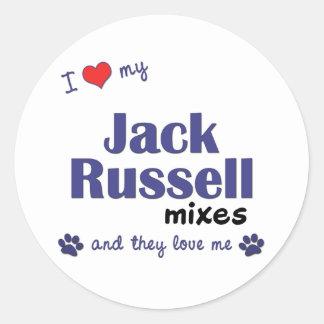 Amo mis mezclas de Jack Russell (los perros Pegatina Redonda