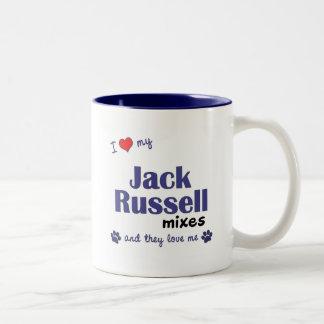 Amo mis mezclas de Jack Russell (los perros Taza De Café De Dos Colores