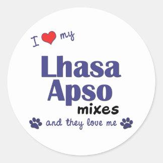 Amo mis mezclas de Lasa Apso (los perros Pegatina Redonda