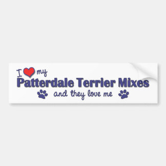 Amo mis mezclas de Patterdale Terrier (los perros  Etiqueta De Parachoque